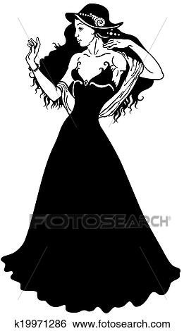 Clip Art Of Elegant Woman Black White K19971286 Search Clipart