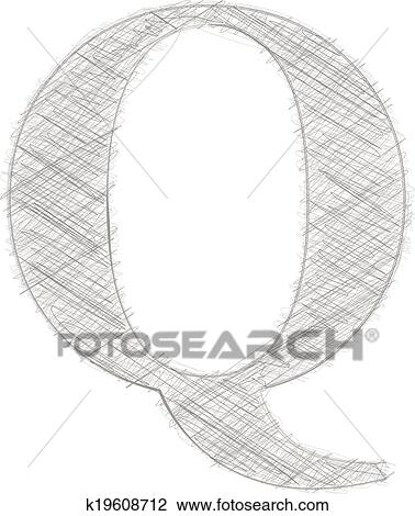 Clipart Of Freehand Typography Letter Q K19608712 Search Clip Art