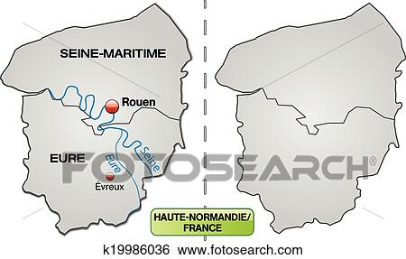Clip Art Of Map Of Upper Normandy K19986036 Search Clipart