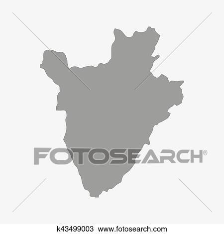 Mappa Di Burundi In Grigio Su Uno Sfondo Bianco Clipart