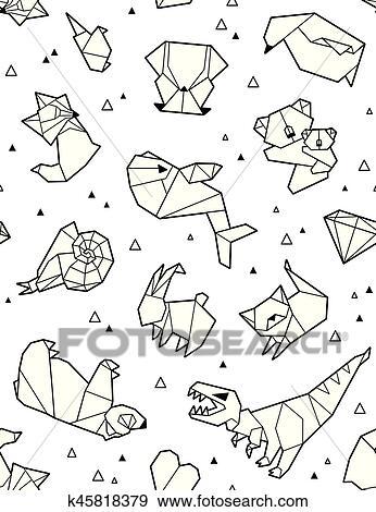 Clip Art - origami, patrón, plano de fondo, con, contorno, animales ...
