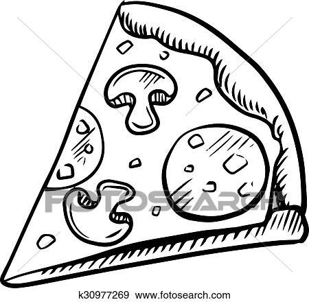 Clip Art Schwarz Weiß Scheibe Von Pepperoni Pizza K30977269