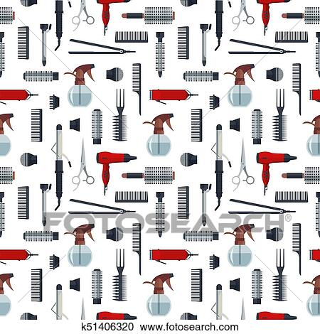 Seamless, modèle, de, coiffeur, objets, dans, plat, style, isolé, blanc, arrière plan., salon cheveux, équipement, et, outils, logo, icônes,