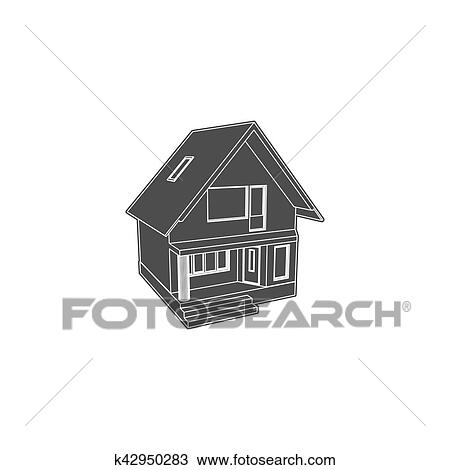 Three Dimension House Model Vector Illustration Drawing