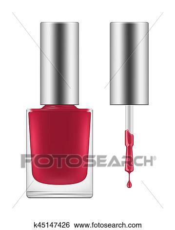 Clip Art Of Vector Shiny Pink Nail Polish K45147426 Search