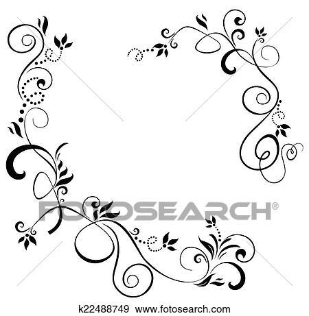 Clip Art Of Vintage Floral Border K22488749