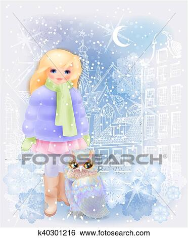 clip art young girl and fairytale owl in the snowy city christmas and new