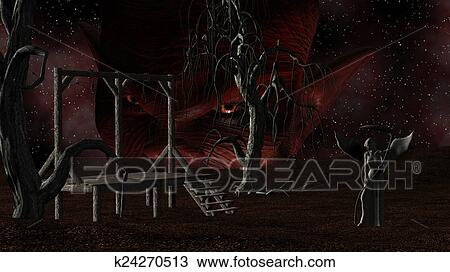 Angel Of Death Spooky Night Background With Gallows Crows Creepy Trees And Devil Head Drawing