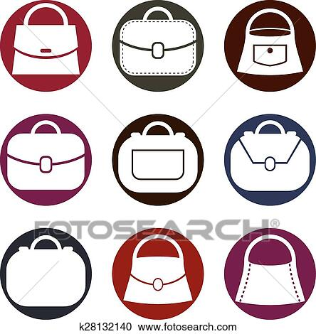 Bag vector icons set, fashion theme Clipart