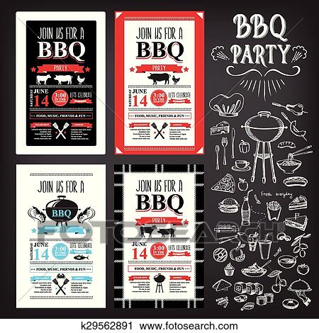 Clipart of barbecue party invitation bbq template menu design food barbecue party invitation bbq template menu design vector with elements maxwellsz