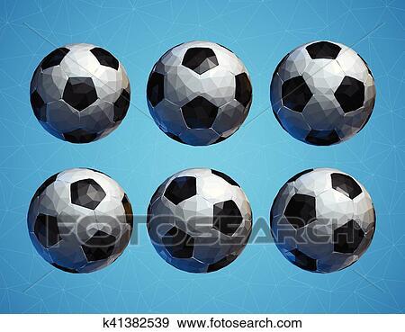Basso Poly 3d Football Palla Calcio Su Sfondo Blu Clip Art