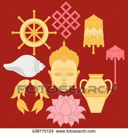 Clipart Of Buddhist Symbolism The 8 Auspicious Symbols Of Buddhism