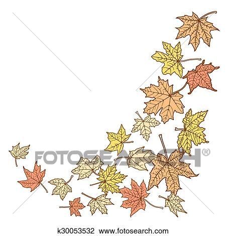 Color Autumn Leaves Template Clipart K30053532 Fotosearch