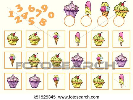 Clipart of Counting Game for Preschool Children. Educational a ...