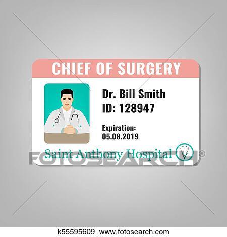Doctor Id Card Clip Art K55595609 Fotosearch