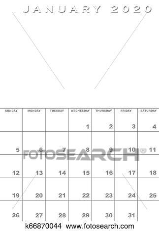 Calendario Mes De Enero 2020.Enero 2020 Calendario Plantilla Coleccion De Ilustraciones