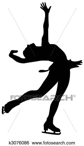 clip art of figure skating k3076086 search clipart illustration rh fotosearch com figure skater clipart ice skating clipart black and white