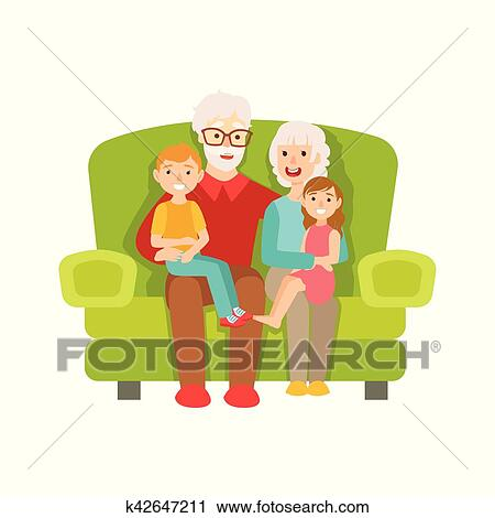 clipart of grandparents and grandchildren sitting on the sofa part
