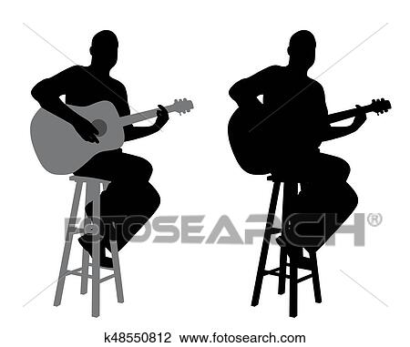clipart of guitar player sitting on a bar stool k48550812 search rh fotosearch com guitar player silhouette clipart Guitar Player Silhouette Clip Art