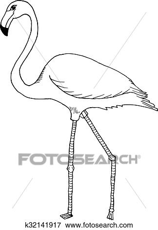 Clipart Main Dessiner Flamant Rose Style Croquis K32141917