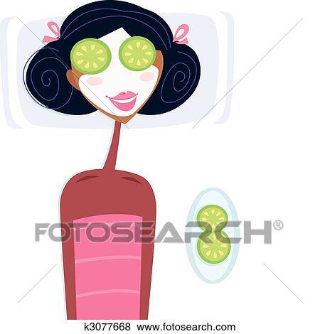 clip art of spa woman with facial mask k3077668 search clipart rh fotosearch com