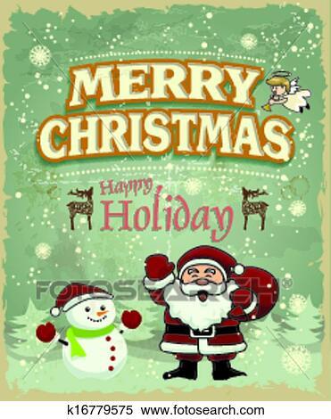 Vintage Christmas Poster Design Wit Clipart