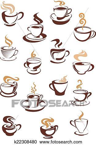 湯気をたてているコーヒー カップ セット クリップアート切り張り