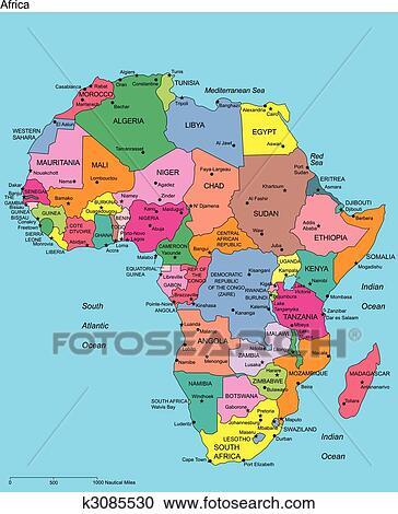 Cartina Marocco Da Colorare.Africa Con Editable Paesi E Nomi Clipart K3085530 Fotosearch