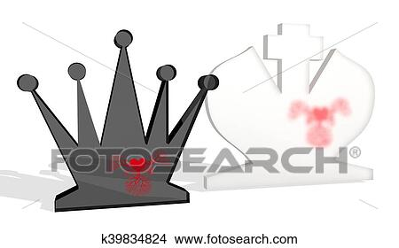 Ajedrez Figuras Rey Y Reina Dibujos K39834824