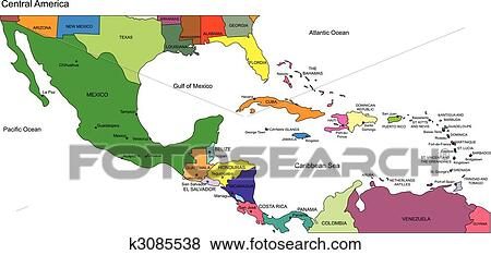 Map Of America And Central America.Central America To Usa Countries And Names Clip Art K3085538