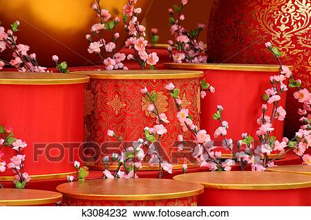 chinese new year scene man made peach blossom