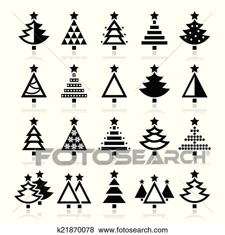 Christmas Tree Icon.Christmas Tree Various Types Icon Clip Art