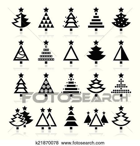 Christmas Tree Icons.Christmas Tree Various Types Icon Clip Art