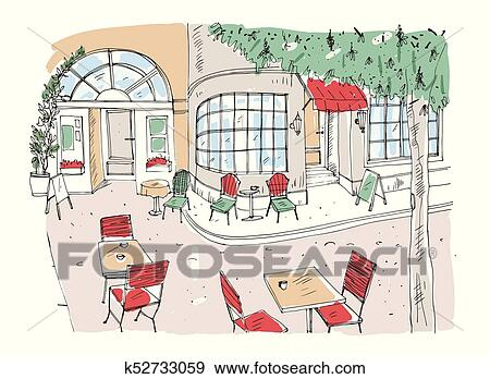 Clip Art Of Colorful Rough Drawing Outdoor Cafe Restaurant Or