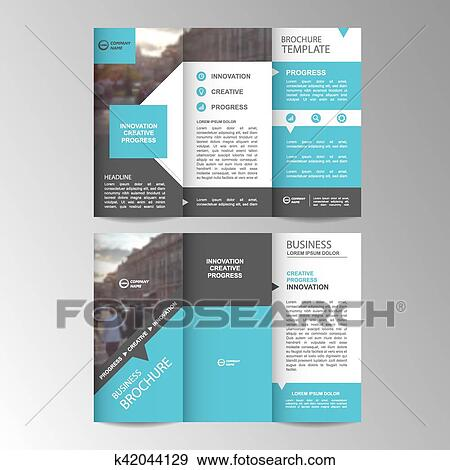 clip art of geometric trifold business brochure template k42044129