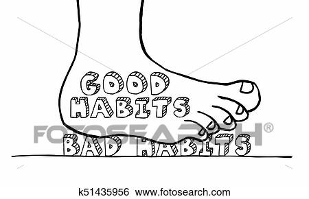 Good Vs Bad Habits Change Actions Foot Stomping Words 3d Illustration