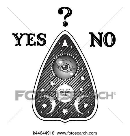 Clip Art Of Hand Drawn Art Ouija Board Mystifying Oracle Planchette