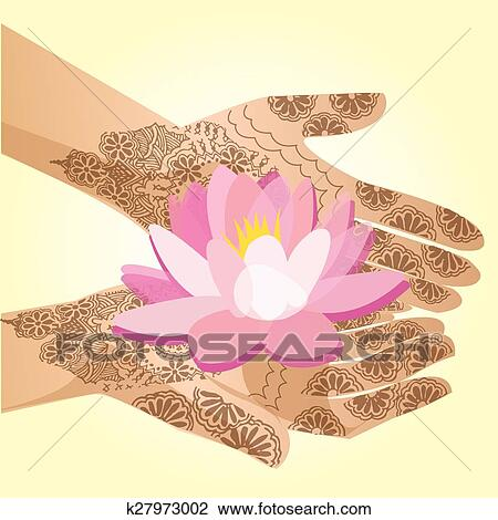 Hands Decorated With Henna Indian Woman Holding A Lotus Flower