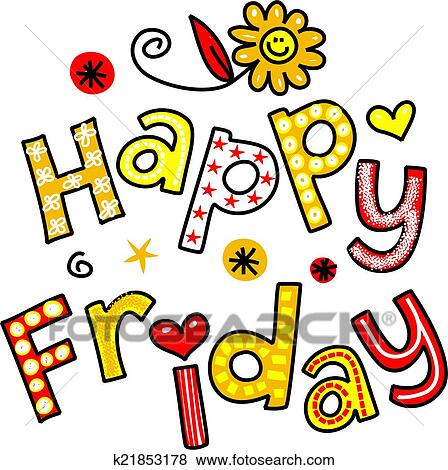 stock illustration of happy friday cartoon text clipart k21853178 rh fotosearch com happy friday clip art in the office happy friday eve clipart