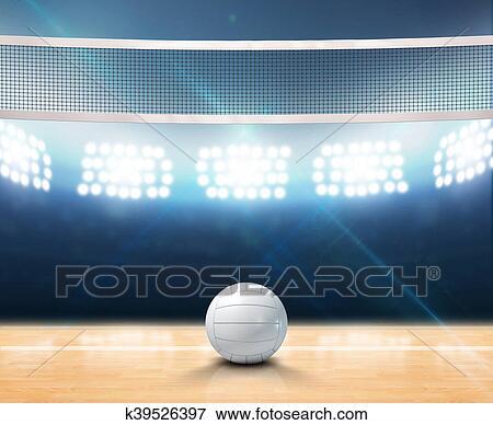 Stock Illustration of Indoor Floodlit Volleyball Court k39526397 ...