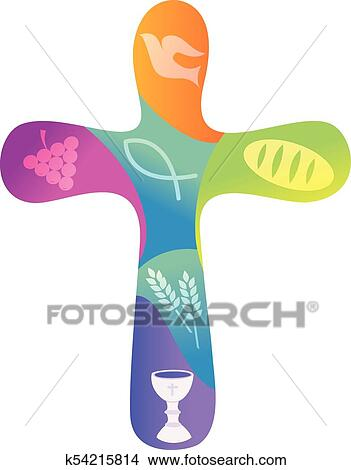 Clipart Of Rainbow Christian Cross With Various Symbols K54215814