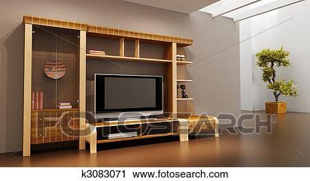 Clipart - salotto, stanza, interno, con, scaffale, e, tv k3083071 ...