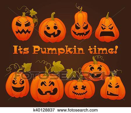 Facce Zucche Di Halloween.Set Zucche Per Halloween Vettore Illustrazione Clip Art
