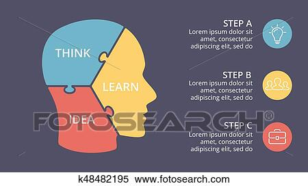 Clipart Of Vector Brain Puzzle Infographic Template For Human Head