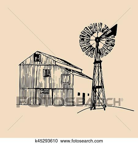 Clipart Of Vector Illustration Traditional Farm Barn With