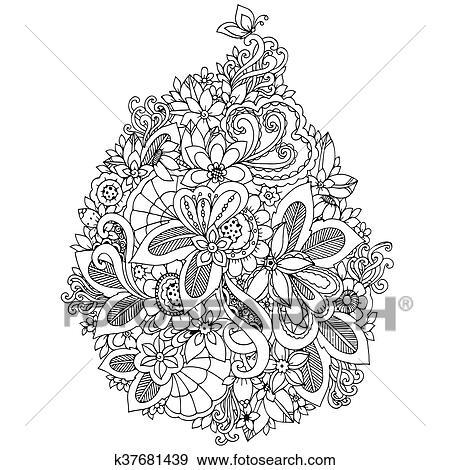 Clip Art Vektor Abbildung Zentangl Karte Mit Flowers