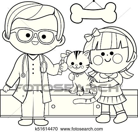 Clipart Of Veterinarian Examining A Cat Coloring Book Page