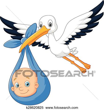 clipart of cartoon bird stork with baby k28620825 search clip art rh fotosearch com stork clipart images stork clip art girl