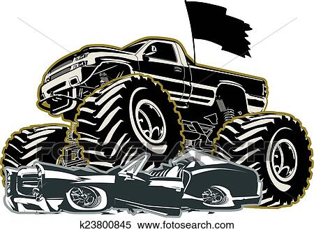 clipart of cartoon monster truck k23800845 search clip art rh fotosearch com monster truck clip art free for birthdays monster truck clipart black and white