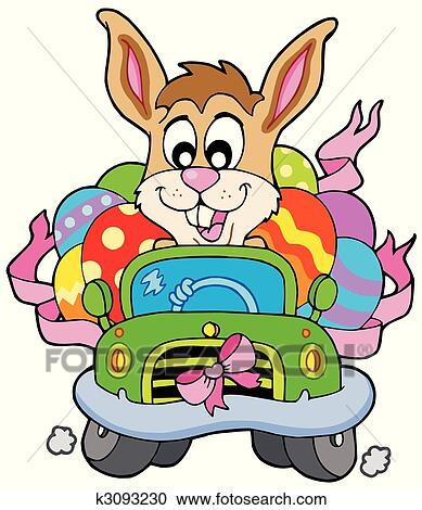 clipart of easter bunny driving car k3093230 search clip art rh fotosearch com easter bunny clipart free